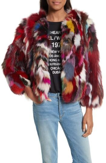 Women's Rebecca Minkoff Rachel Genuine Fox Fur Jacket, Size - Red