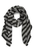 Women's Leith Metallic Stripe Scarf, Size - Black