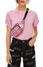Women's Topshop Rollback Tee Us (fits Like 14) - Pink