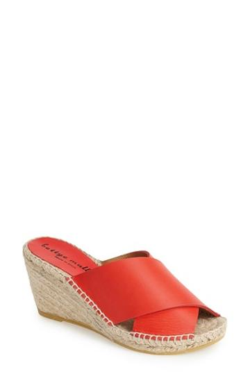 Women's Bettye Muller 'dijon' Leather Wedge Espadrille Slide Sandal