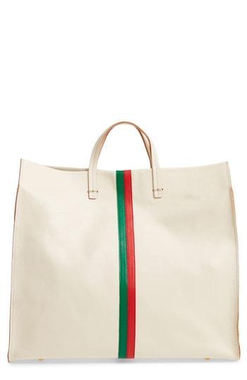 Clare V. Simple Stripe Leather Tote - White