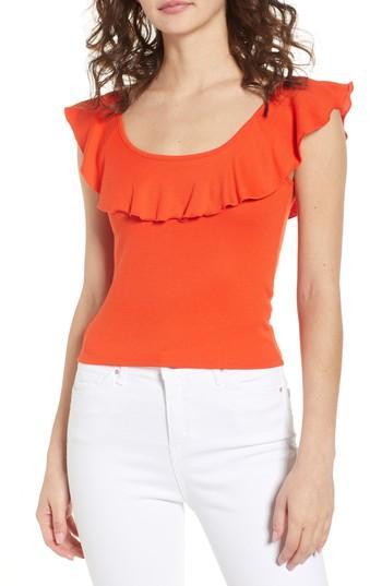 Women's Bp. Ruffle Rib Knit Tank, Size - Orange