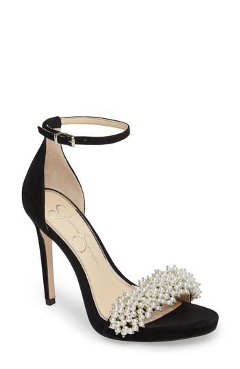Women's Jessica Simpson Rusley Imitation Pearl Sandal M - Black