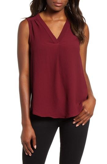 Women's Gibson Stretch Crepe Split Neck Sleeveless Blouse, Size - Red