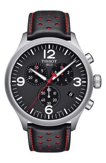 Men's Tissot T-sport Chronograph Leather Strap Watch, 45mm