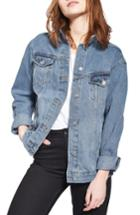 Women's Topshop Oversize Denim Jacket Us (fits Like 14) - Blue