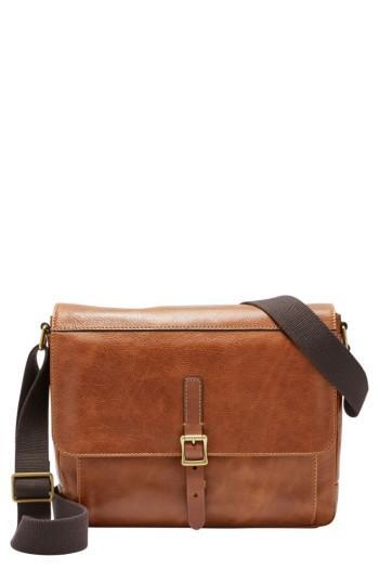 Men's Fossil Defender Leather Messenger Bag - Brown