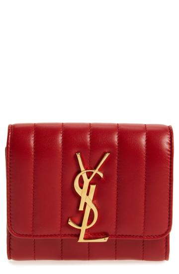 Women's Saint Laurent Vicky Lambskin Leather Trifold Wallet - Burgundy