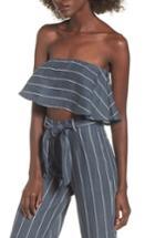 Women's Faithfull The Brand Solana Strapless Linen Crop Top - Grey