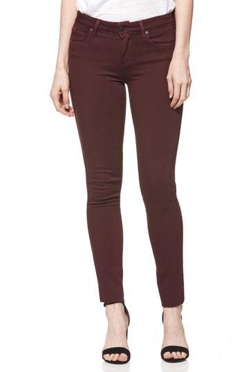 Women's Paige Verdugo Raw Hem Skinny Jeans - Red