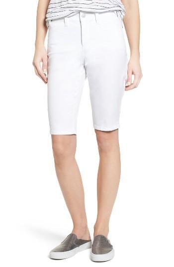 Petite Women's Nydj Stretch Twill Bermuda Shorts P - White