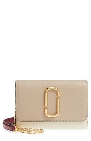 Women's Marc Jacobs Snapshot Leather Wallet On A Chain - Beige