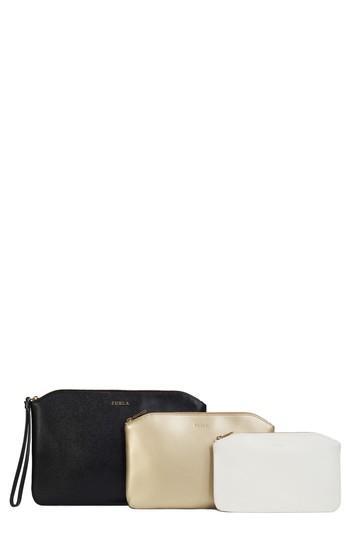 Furla Venere Set Of 3 Leather Cosmetic Cases, Size - Onyx/ Gold/ Petalo