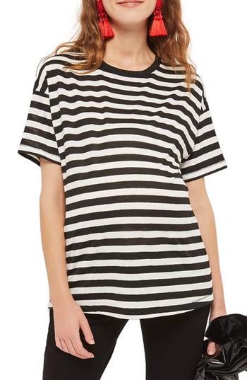 Women's Topshop Bold Stripe Maternity Tee Us (fits Like 0-2) - Black