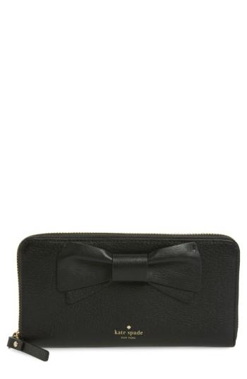 Women's Kate Spade New York Olive Drive - Lacey Bow Leather Wallet - Black
