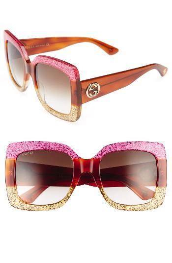 Women's Gucci 55mm Square Sunglasses - Fuschia Havana Gold/ Brown