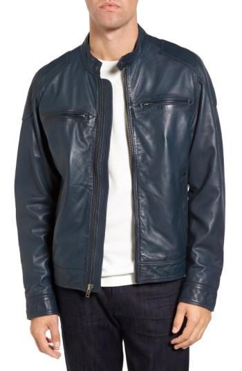 Men's Black Rivet Blue Leather Moto Jacket