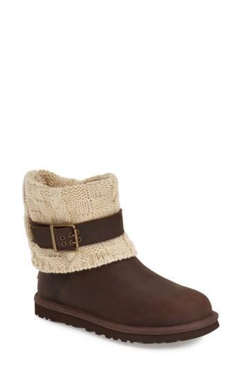 Women's Ugg 'cassidee' Cable Knit Boot M - Brown