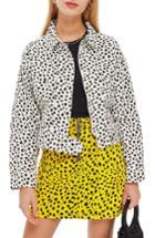 Women's Topshop Animal Print Jacket Us (fits Like 0) - White