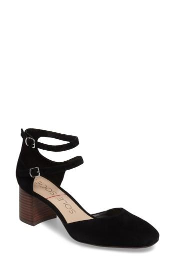Women's Sole Society Selby Double Strap Pump M - Black