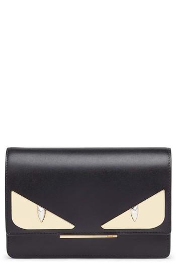 Women's Fendi Tube Monster Leather Wallet On A Chain - Black