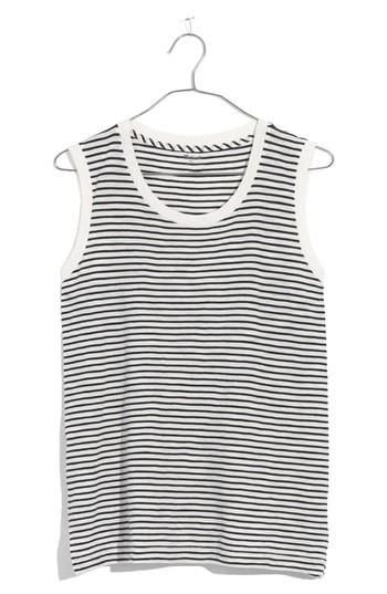 Women's Madewell Whisper Cotton Stripe Crewneck Muscle Tank - Blue
