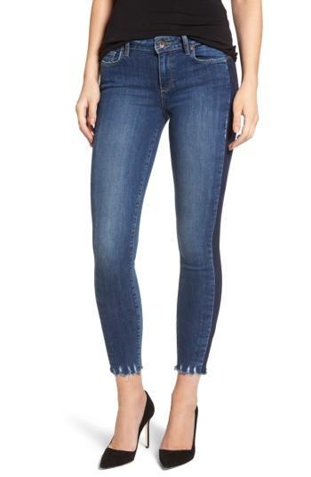 Women's Paige Verdugo Side Stripe Ankle Ultra Skinny Jeans - Blue