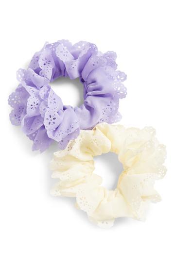 Tasha 2-pack Eyelet Scrunchies, Size - Purple