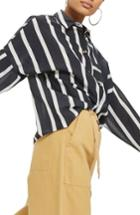 Women's Topshop Wide Stripe Shirt Us (fits Like 0) - Blue