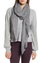 Women's Leith Menswear Plaid Oblong Scarf, Size - Grey