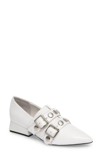 Women's Jeffrey Campbell Manford Buckle Strap Loafer M - White