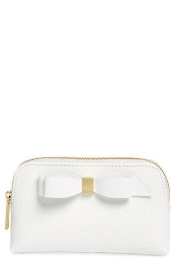 Ted Baker London Emmahh Bow Small Leather Cosmetics Case, Size - White