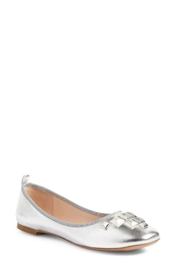 Women's Marc Jacobs Cleo Studded Ballet Flat .5 Eu - Metallic