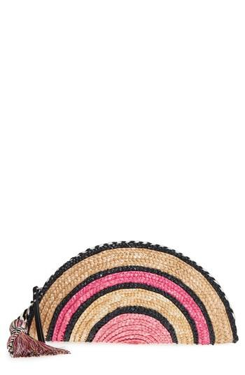 Rebecca Minkoff Woven Straw Taco Clutch - Pink