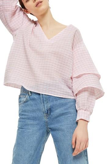 Petite Women's Topshop Layered Sleeve Gingham Top P Us (fits Like 0p) - Pink