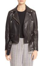 Women's Acne Studios Lambskin Mock Moto Jacket Us / 36 Eu - Black