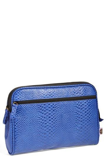 Steph & Co. 'blue Python - Large' Cosmetics Case