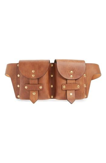 Tory Burch Studded Leather Belt Bag - Brown