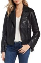 Women's Bernardo Belted Leather Moto Jacket