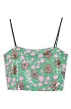 Women's Topshop Flower Sequin Camisole Us (fits Like 0) - Green