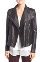 Women's Trouve Leather Moto Jacket, Size - Black