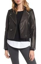 Women's Mackage Baya Leather Moto Jacket - Black