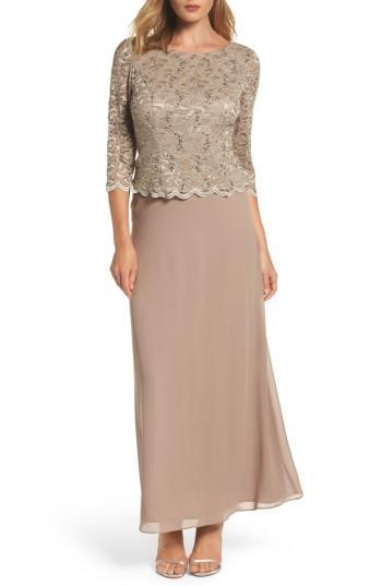 Petite Women's Alex Evenings Mock Two-piece Dress P - Beige