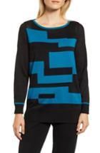 Women's Ming Wang Colorblock Cotton Blend Tunic Sweater - Blue