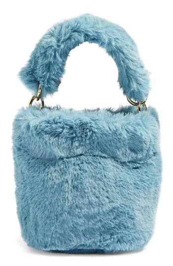 Topshop Teddy Faux Fur Bucket Bag - Blue