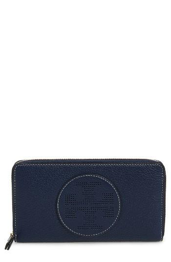 Women's Tory Burch Perforated Logo Zip Continental Wallet -