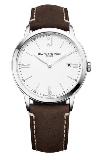 Men's Baume & Mercier Leather Strap Watch, 40mm