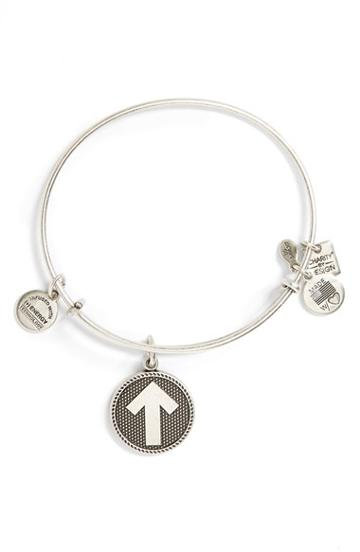 Women's Alex And Ani 'stand Up To Cancer' Expandable Wire Bangle - Russian Silver