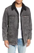Men's Levi's Long Fleece Lined Trucker Jacket - Black