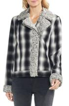 Women's Vince Camuto Faux Shearling Trim Plaid Jacket, Size - Black